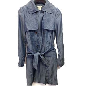 Vertigo Paris Trench Coat Indigo Blue Denim Belted